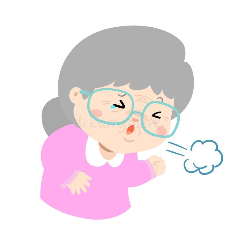 咳嗽动画片传染媒介例证的祖母 皇族释放例证