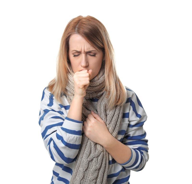 咳嗽妇女年轻人 图库摄影