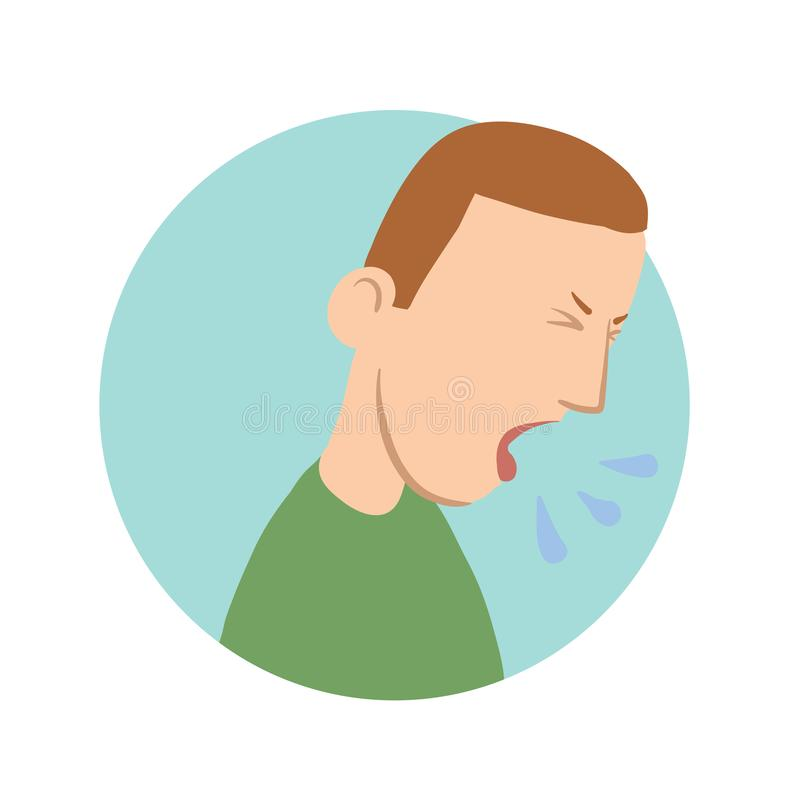 咳嗽年轻的人,憔悴象 传染媒介平的例证,隔绝在白色 向量例证