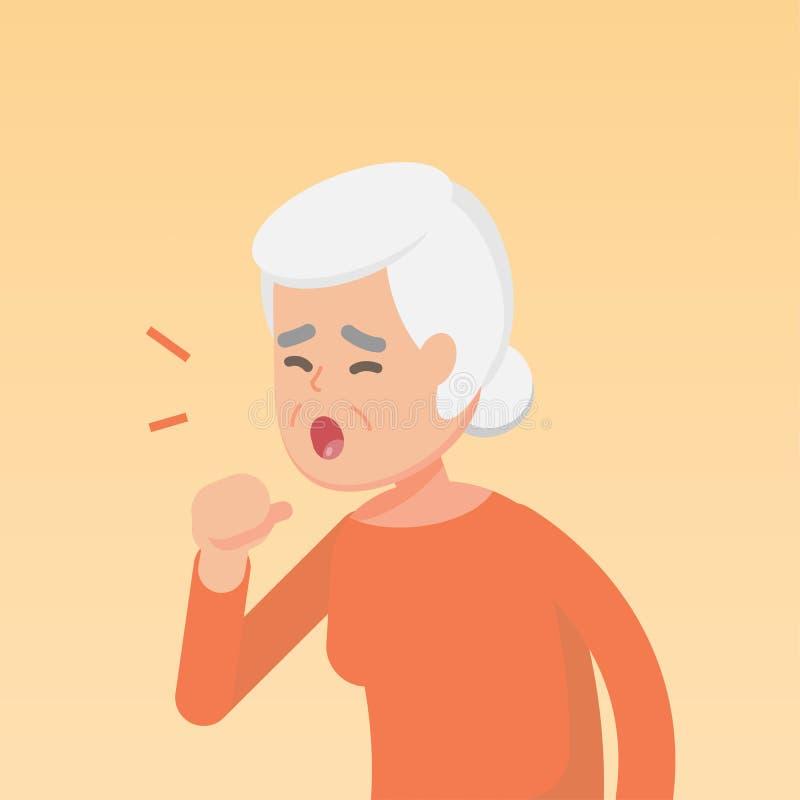 咳嗽资深的妇女,憔悴过敏概念,传染媒介平的例证 皇族释放例证