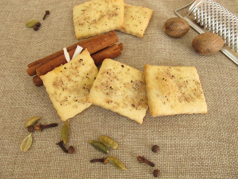 咸薄脆饼干用咖啡、桂香、豆蔻果实、肉豆蔻、丁香和多香果 免版税图库摄影
