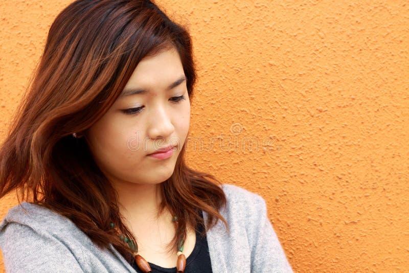哀伤中国的女孩非常谁 免版税库存图片