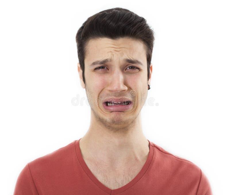 年轻哀伤人哭泣 库存图片