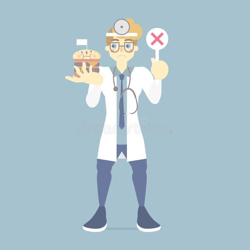 哀伤和生气男性医生藏品错误,与垃圾食品,医院的医疗保健概念的不正确标志标志 皇族释放例证