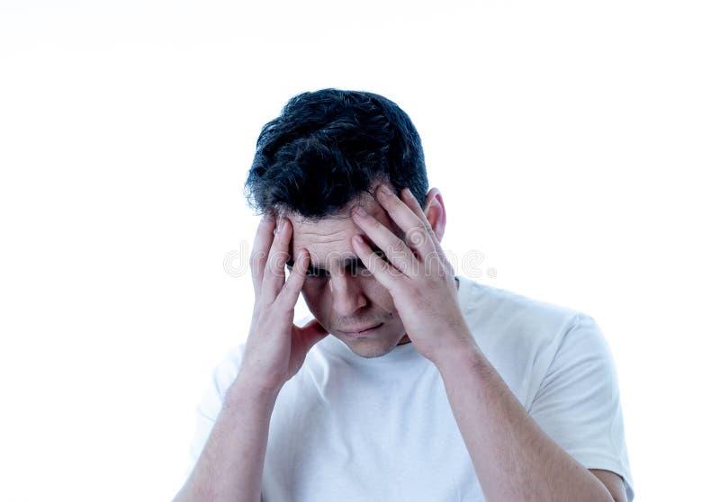 哀伤和绝望帅哥感觉画象沮丧在表情和消沉 免版税库存图片