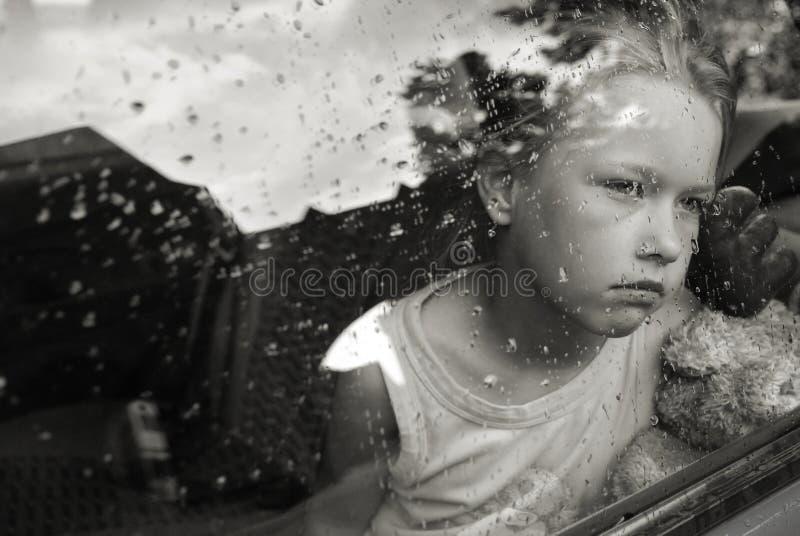 哀伤女孩的纵向 免版税图库摄影