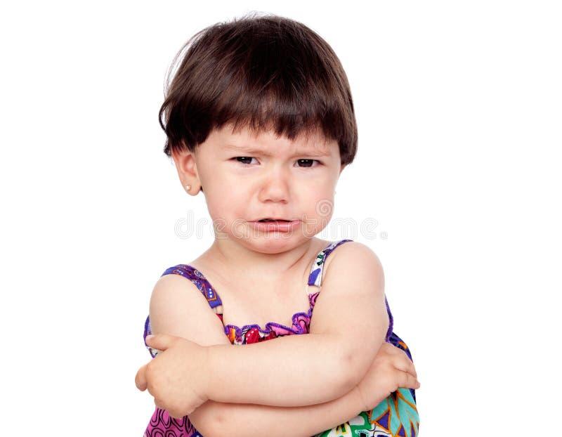哀伤婴孩哭泣的女孩 库存图片