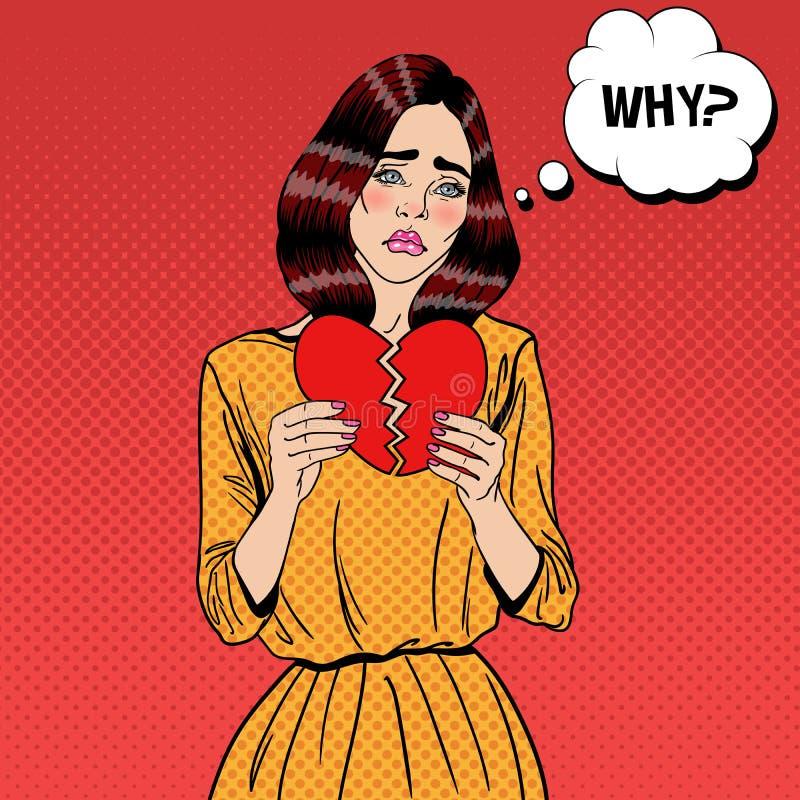 哀伤的不快乐的流行艺术妇女撕毁的纸红色心脏 向量例证