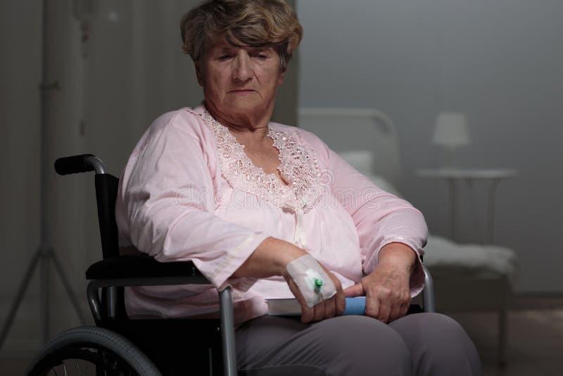 哀伤的不适的退休人员 图库摄影