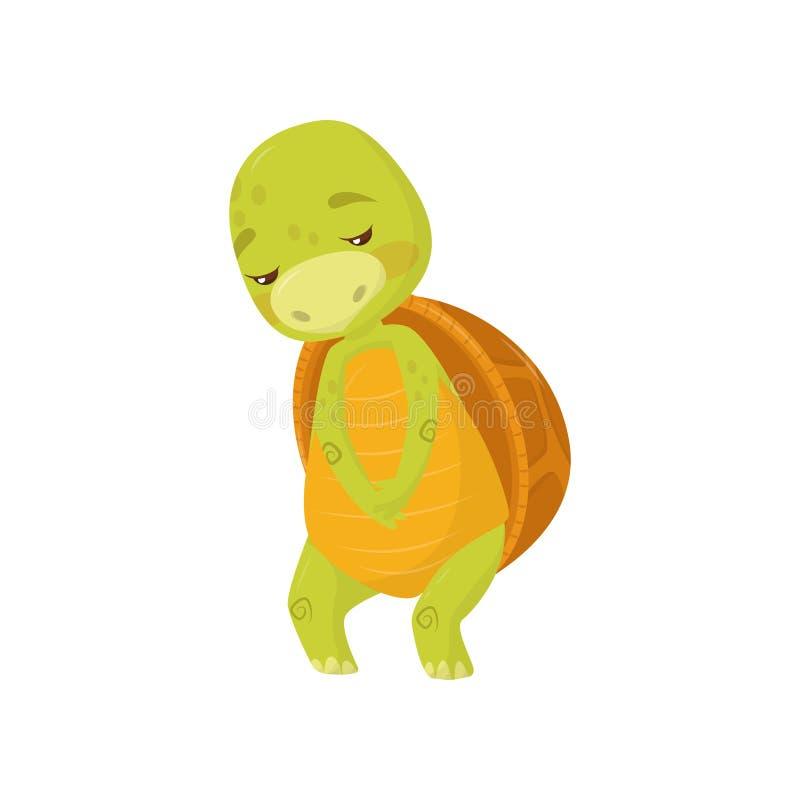 哀伤的乌龟平的传染媒介象  与棕色壳的绿色海生动物 与翻倒枪口的动画片爬行动物 向量例证