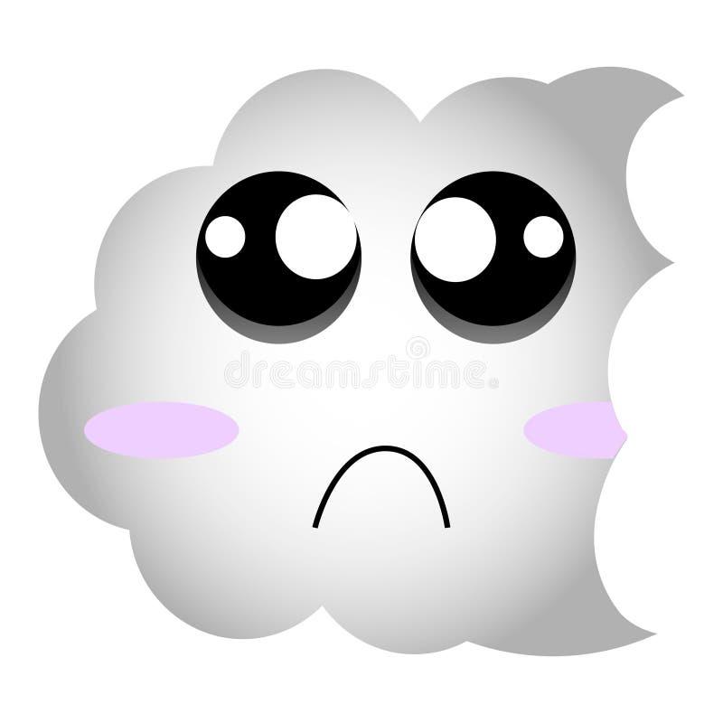 哀伤的云彩意思号 逗人喜爱的传染媒介emoji 在eps10的编辑可能的贴纸 库存例证