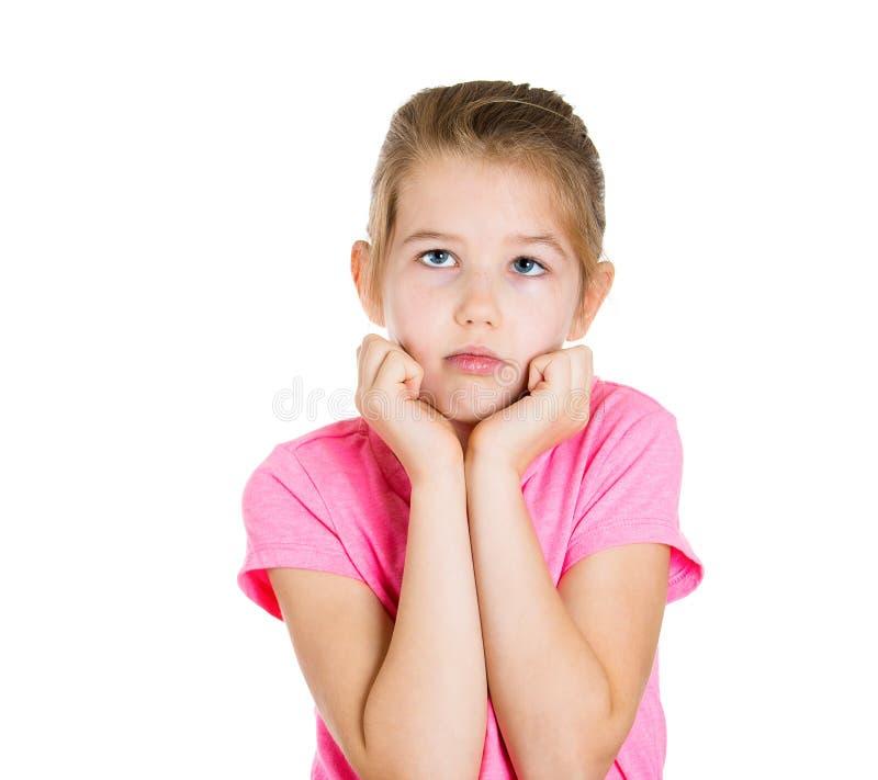 哀伤的体贴的小女孩 免版税库存图片