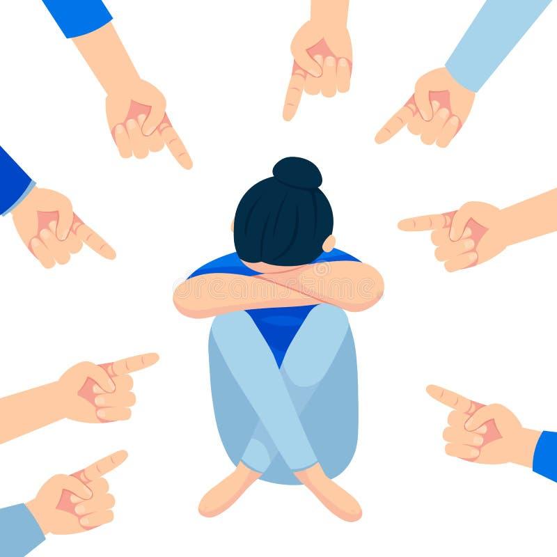 哀伤的十几岁的女孩坐同学围拢的地板嘲笑他,嘲笑 嘲笑和胁迫的问题在 库存例证