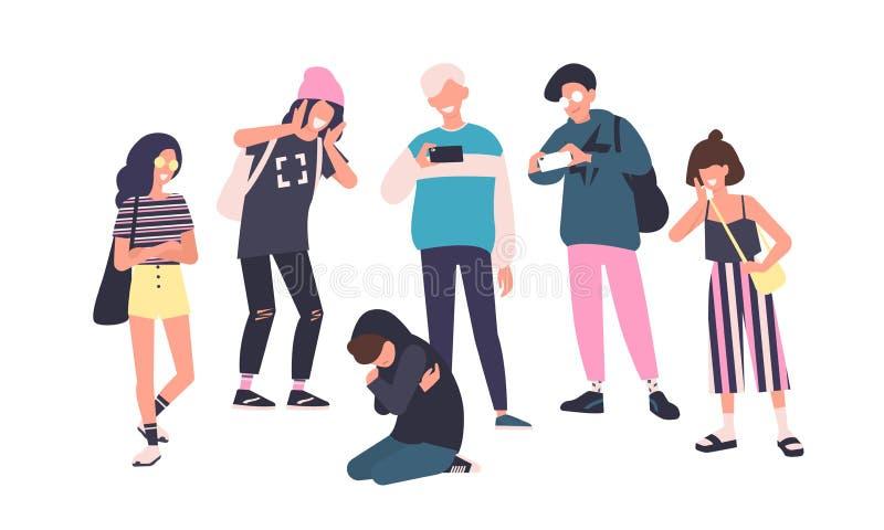 哀伤的十几岁的男孩坐同学围拢的地板嘲笑他,嘲笑,拍在智能手机的照片 问题 库存例证