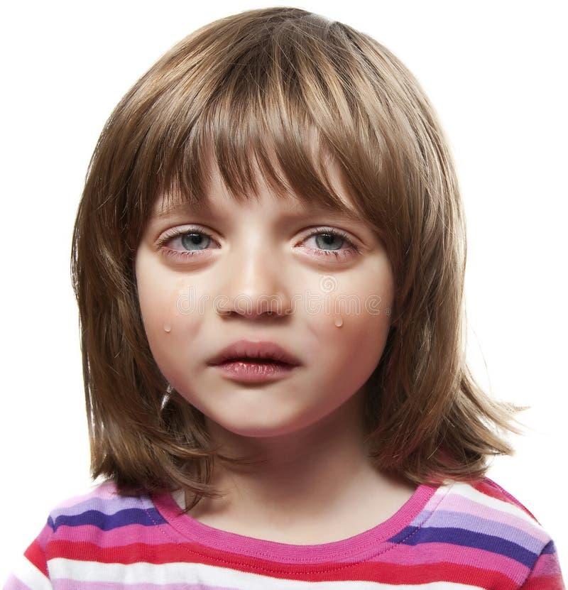 哀伤的哭泣的小女孩 库存照片