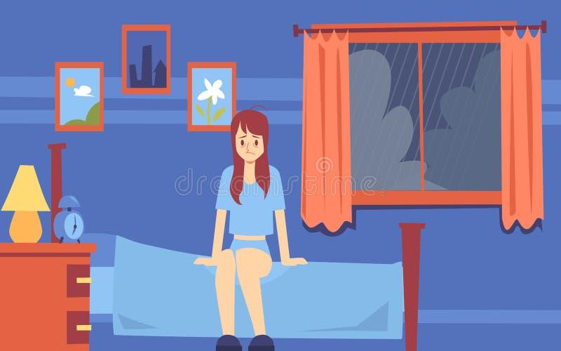 哀伤的困妇女或女孩早晨醒了在卧室并且坐在心情的床 向量例证