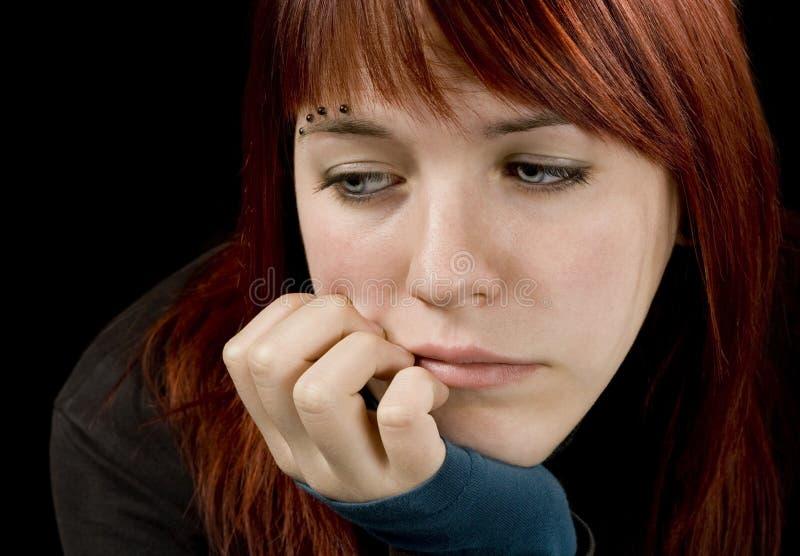 哀伤的女孩 免版税图库摄影