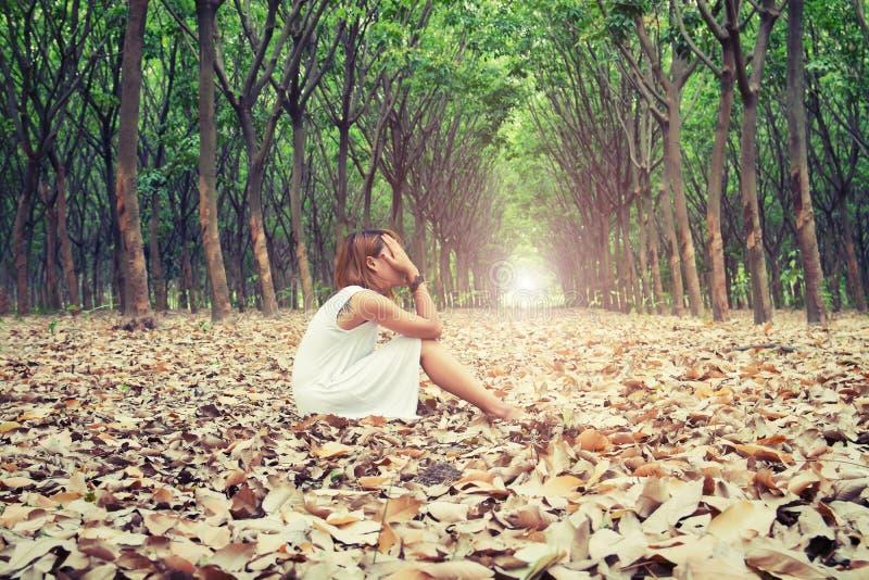 哀伤的妇女递她的面孔那么哀伤地坐在的干燥叶子 库存图片
