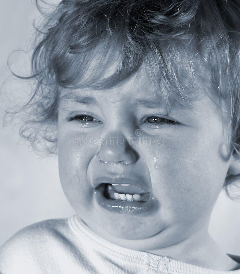 哀伤的婴孩 库存照片
