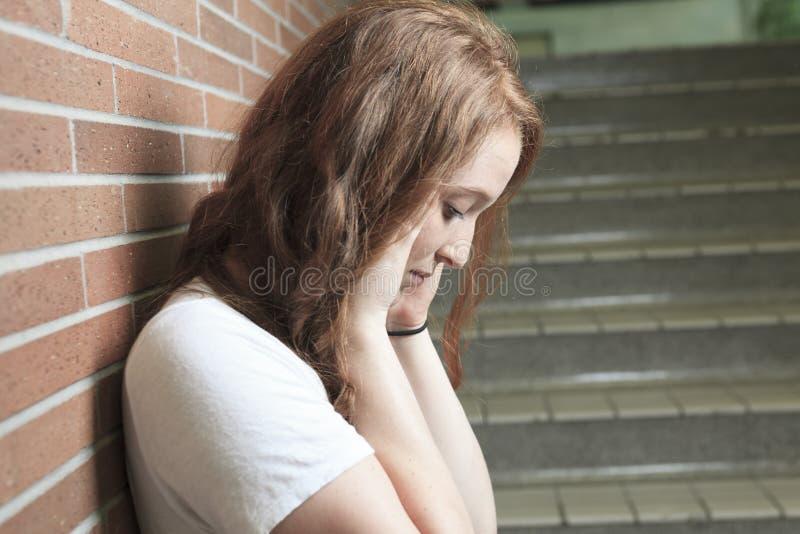 哀伤的孤独的学生 库存图片