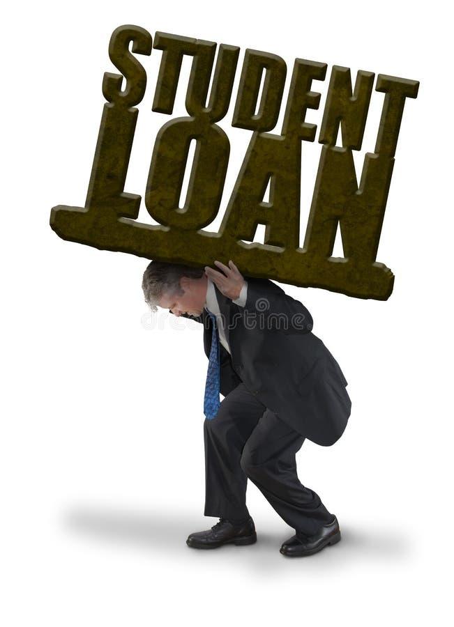 哀伤的学生贷款的人运载的负担喜欢大量的岩石重量 免版税库存图片