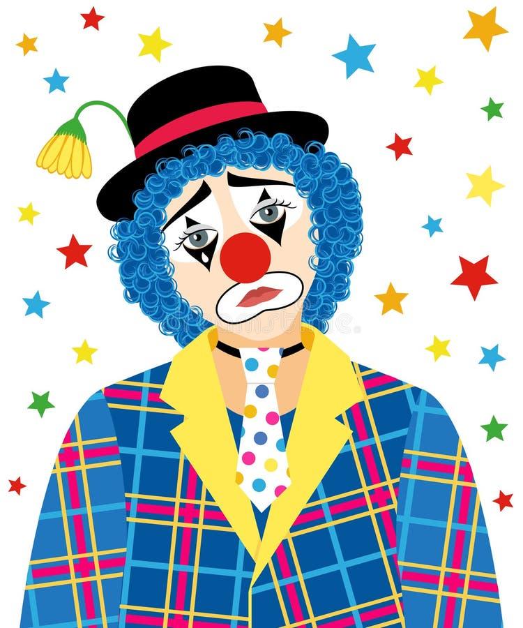 哀伤的小丑 库存例证