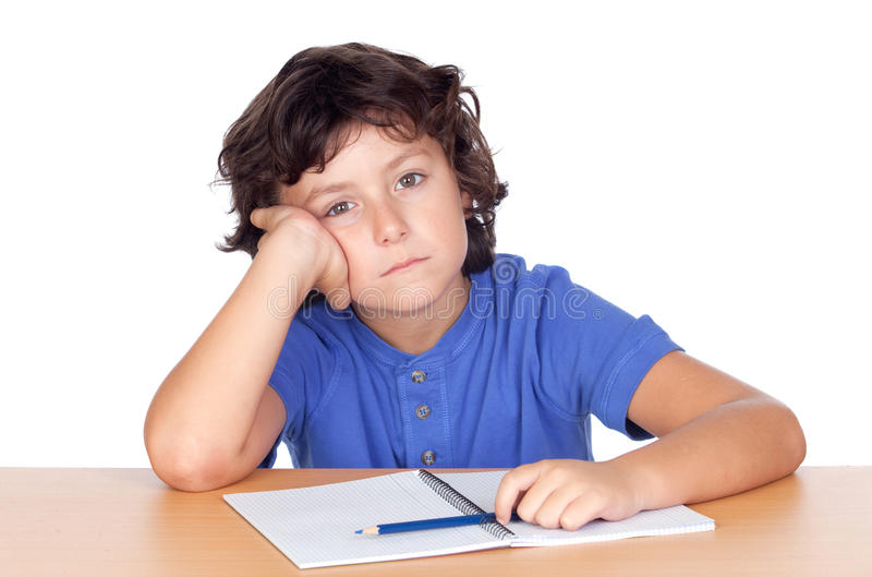 哀伤的小的学员 免版税库存图片