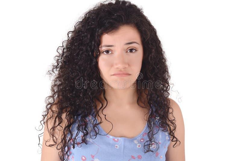 哀伤的拉丁妇女感觉翻倒画象  免版税库存照片