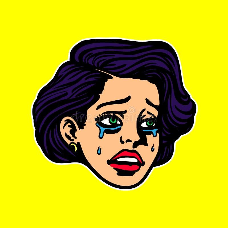 哀伤的极度沮丧的哭泣的妇女面孔流行艺术葡萄酒动画片样式例证 皇族释放例证