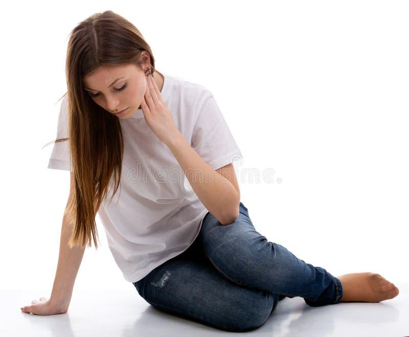 哀伤的沮丧的青少年的女孩 库存照片