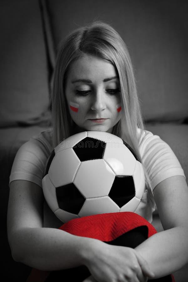 哀伤的波兰足球迷 免版税库存照片