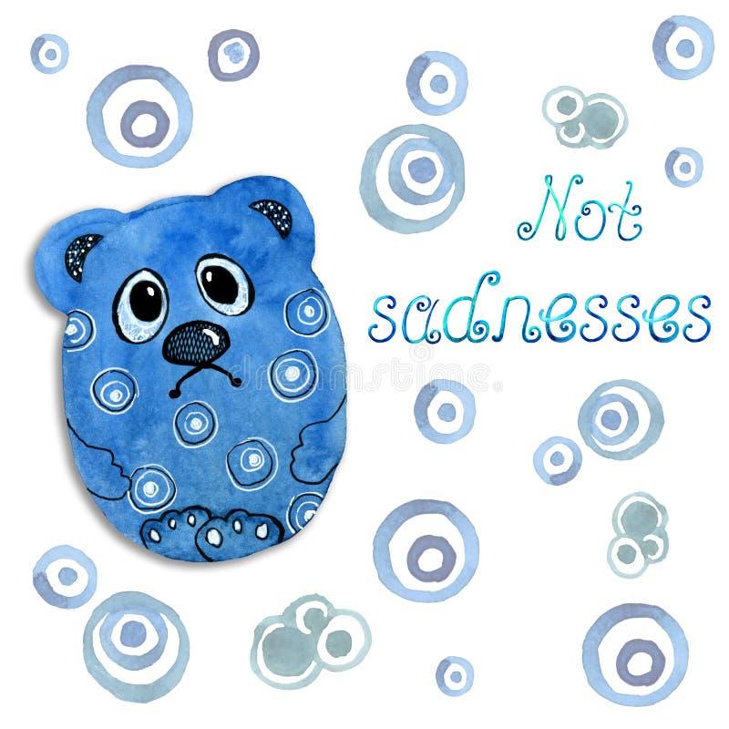哀伤的熊动画片动物 在水彩的图画和印刷品,背景,卡片,邀请设计的图表样式  向量例证