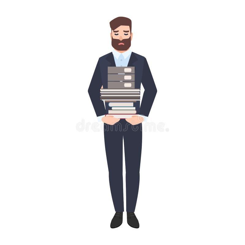 哀伤的男性办公室工作者或干事运载的堆纸张文件 疲倦的不快乐的经理超载与被隔绝的工作 向量例证