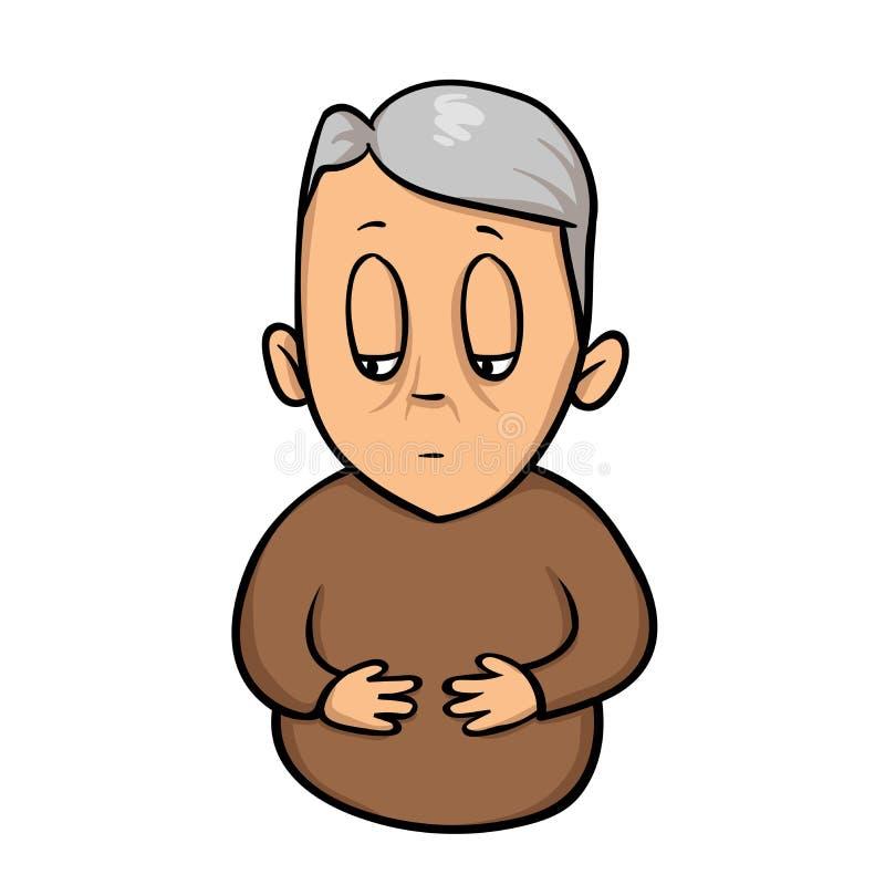 哀伤的老人用在他的胃的手 食道问题,腹部抽疯 平的传染媒介例证 查出在白色 库存例证