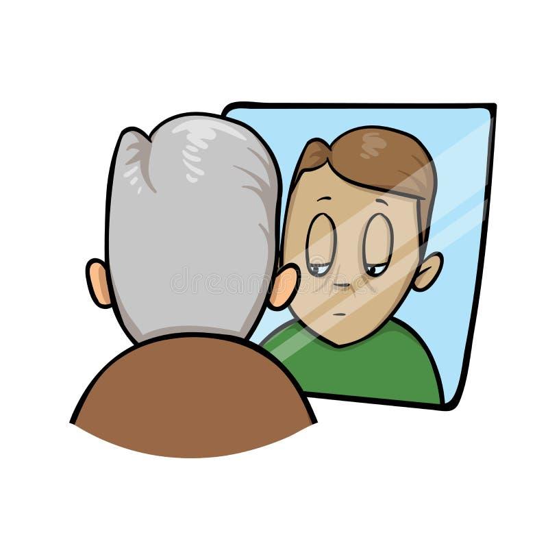 哀伤的老人看的更加年轻他自己在镜子 平的传染媒介例证 背景查出的白色 库存例证
