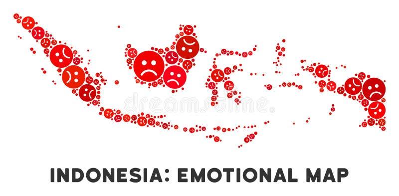 哀伤的面带笑容传染媒介可怜的印度尼西亚地图马赛克  库存例证