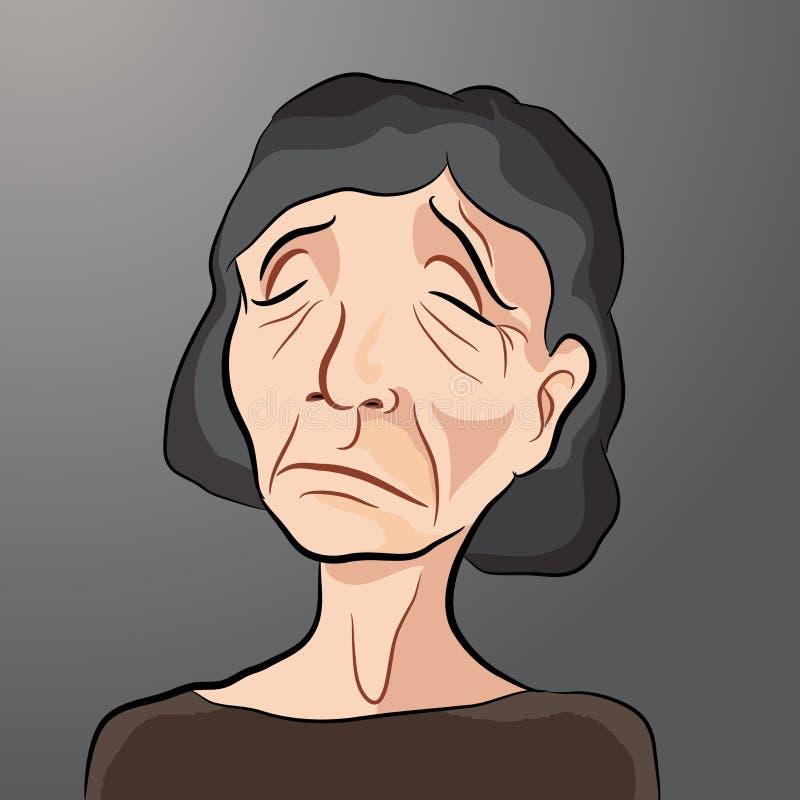 哀伤的年长女性动画片  向量例证