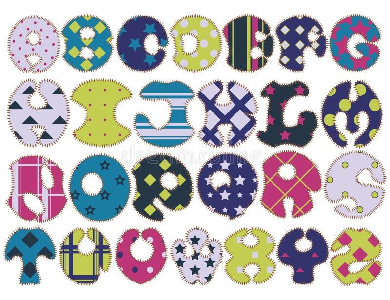 织品五颜六色的手工制造字体 库存照片