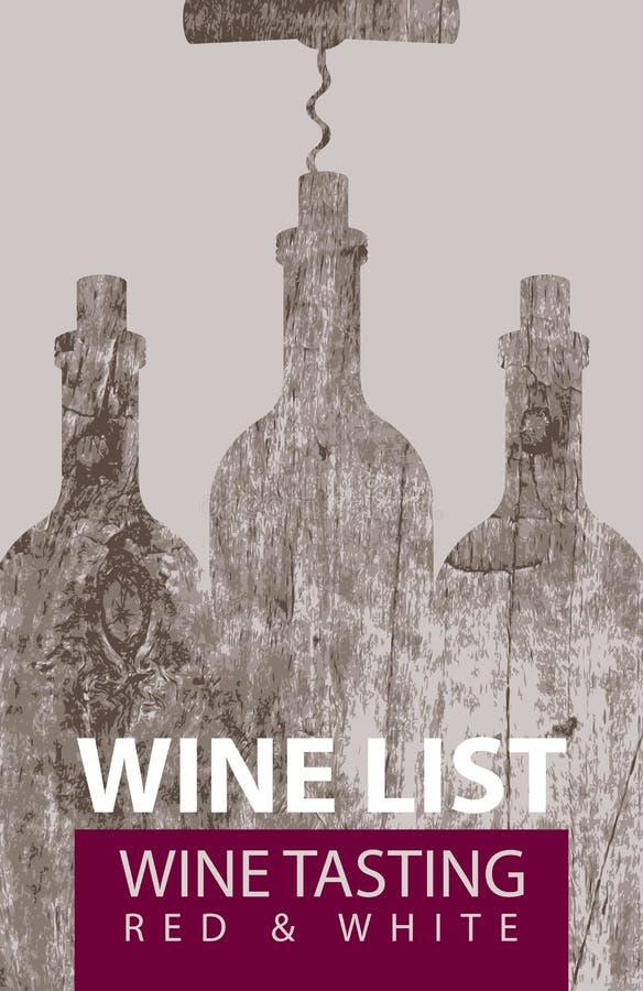 品尝的酒类一览表与瓶和拔塞螺旋 库存例证