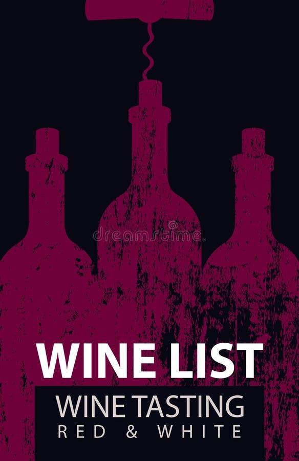 品尝的酒类一览表与瓶和拔塞螺旋 皇族释放例证