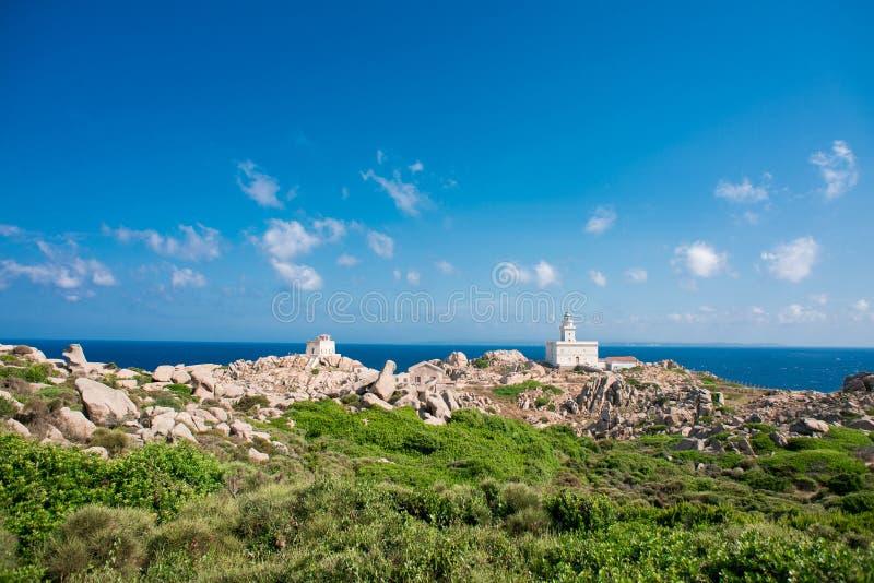 品柱介壳灯塔  圣特雷莎di Gallura,撒丁岛海岛 库存照片