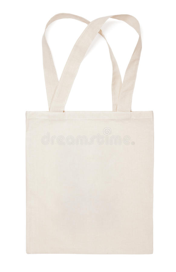 织品棉花在白色的eco袋子 免版税图库摄影