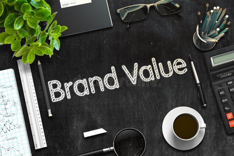 品牌价值-在黑黑板的文本 3d?? 皇族释放例证