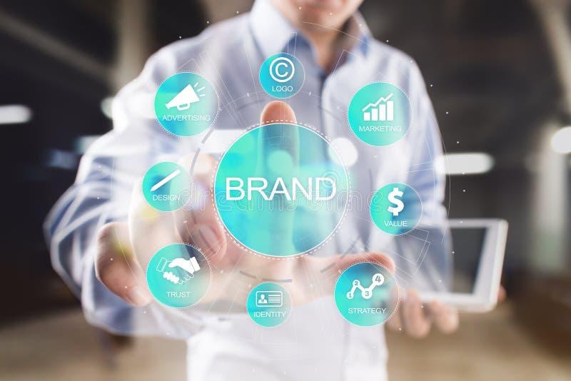 品牌在虚屏上的图概念 了悟增量,设计、营销和广告解答在事务 皇族释放例证