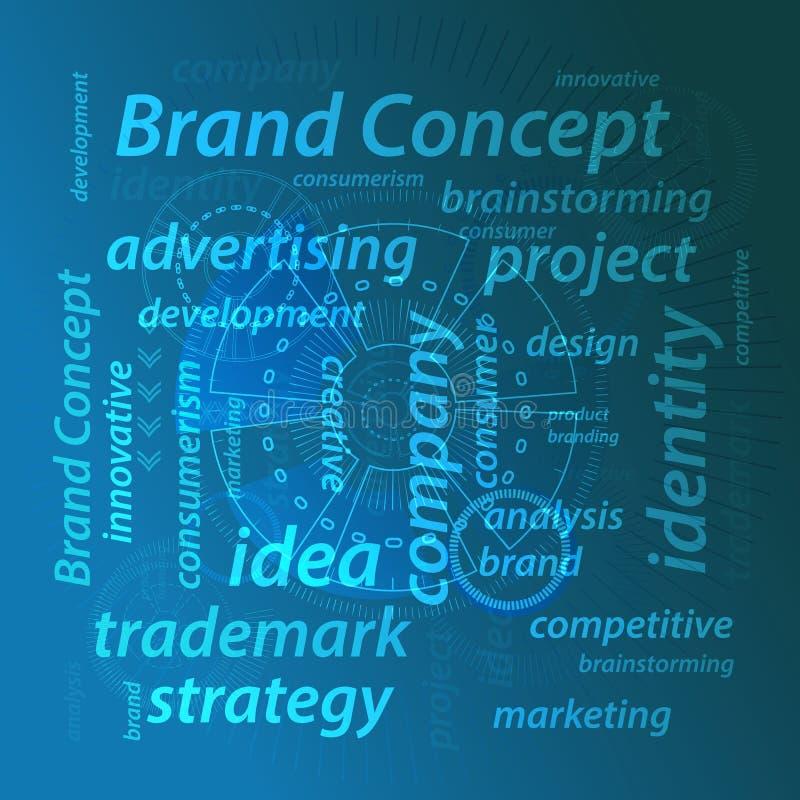 品牌概念 在蓝色背景的题字 库存例证