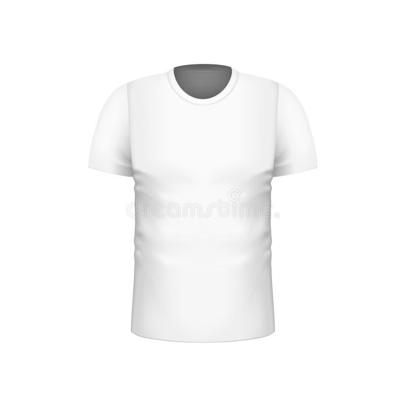 品牌设计的现实空白的白人短袖T恤杉模板 也corel凹道例证向量 库存例证