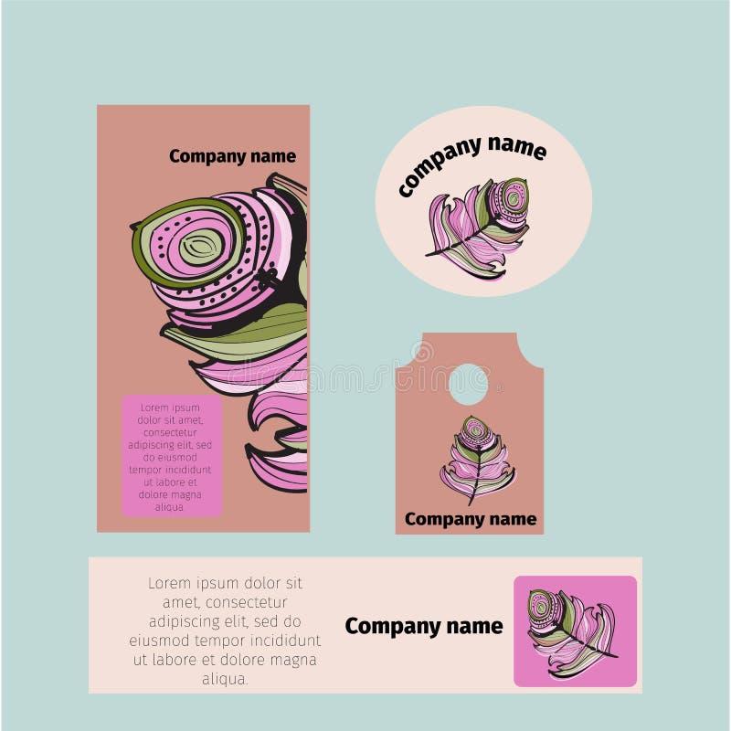品牌身份模板公司公司设计,为企业旅馆,手段,温泉,豪华优质商标设置了, 库存例证