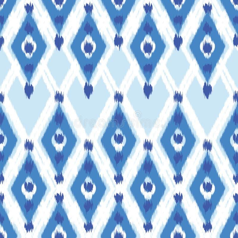 织品的Ikat无缝的样式设计 库存例证