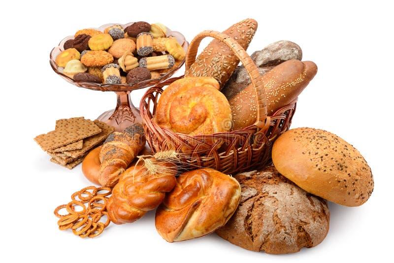 品种面包产品小圆面包,面包,饼干,薄脆饼干孤立 免版税库存图片