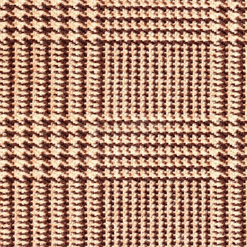 织品纹理,格子呢样式 对自然背景,横幅,印刷品,模板,网,装饰 灰棕色和褐色 正方形 免版税库存图片
